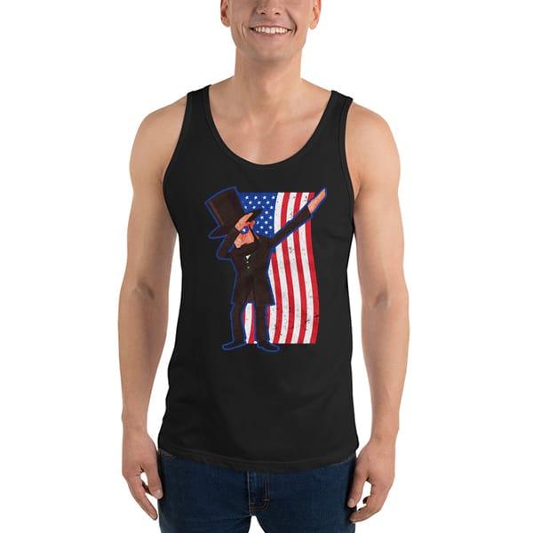 1021 Abe Lincoln Dabbing Usa American Flag Tank Top Unisex T Shirt - Abe Lincoln Dabbing USA American Flag Tanktop